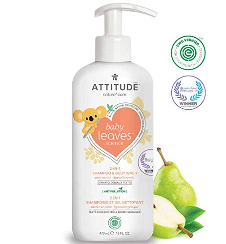 ATTITUDE Baby Leaves, Hypoallergenic 2 in 1 Shampoo & Body Wash, Pear Nectar, 16 Fluid Ounce