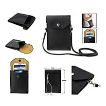 DFV mobile® - Universal Litchi Texture Leather Case Pocket Sleeve Bag with Lanyard for Tablet and Smartphone for => CATERPILLAR Cat B15 > Black