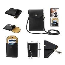 DFV mobile - Sac Étui Housse pour Tablettes et Smartphone avec Poche en Simili-Cuir Souple Universel pour => SONY XPERIA Z2 > Noir