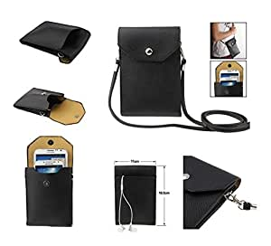 DFV mobile - Universal Litchi Texture Leather Case Pocket Sleeve Bag with Lanyard for Tablet and Smartphone for => Videocon A47 > Black