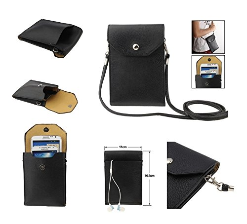 "DFV mobile - Universal Litchi Texture Leather Case Pocket Sleeve Bag with Lanyard for Tablet and Smartphone for =>     APPLE IPHONE 6 PLUS [5,5""] > Black"