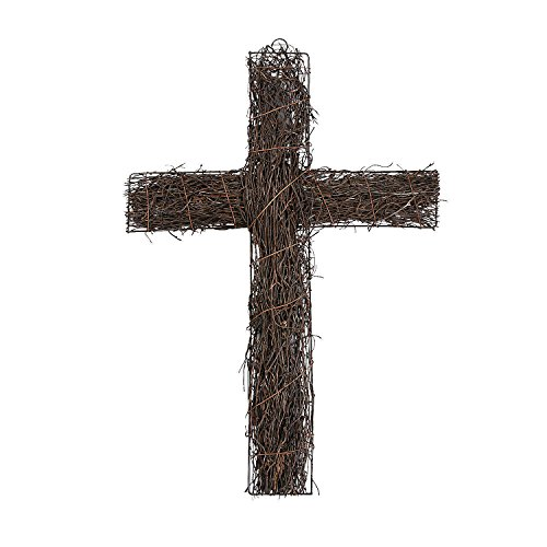Faux Grapevine Wall Cross by Fun Express - Organic Rustic Design - Includes Metal Frame