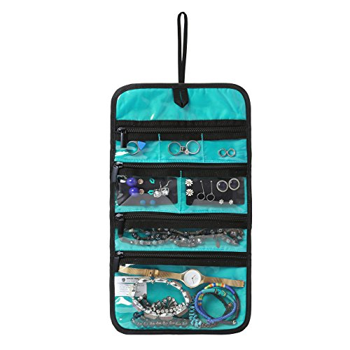BAGSMART Hanging Travel Jewelry Roll Bag with Zippered Compartments for Earrings & Necklaces & Ring, Blue - Dress Ring Designs