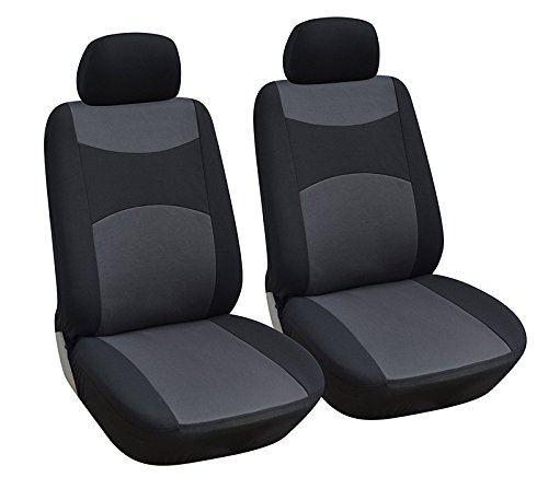 OPT Brand. Universal Fit Cloth Fabric 6 PCS Set Car Auto 2 Front Seat Covers Compatible To Volkswagen Beetle Passat Touareg Jetta Tiguan GTI Golf e-Golf Golf SportWagen, Black Color