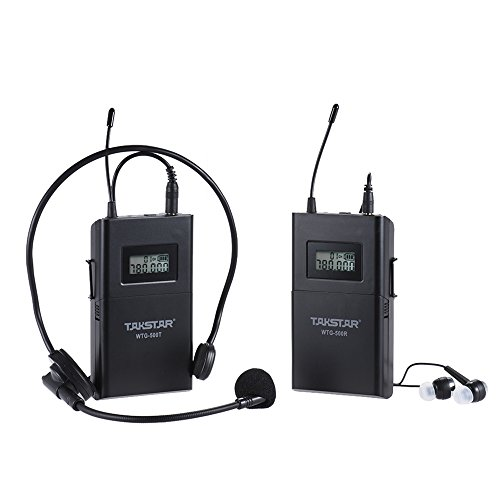 ammoon TAKSTAR WTG-500 UHF Wireless Acoustic Transmission System (Transmitter + Receiver) 100m Effective Range 6 Selectable Channels with Lavalier Microphone Earphone