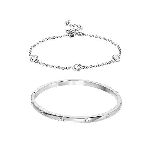 (Bangle and Bracelet Set [Rhodium Plated]