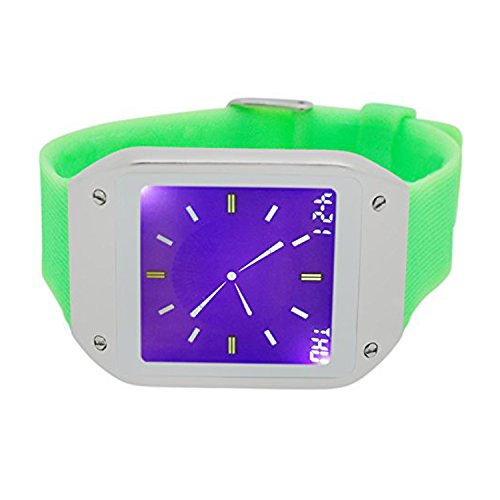 Techno Pave Digital Touch Screen Gear Square Face Silver PlatedBezel with Lime Green Rubber Band Watch