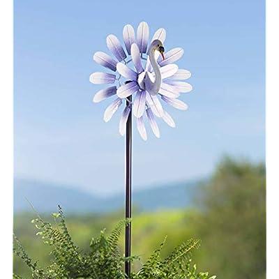 Plow & Hearth Midi 3D Swan Metal Wind Spinner - 11.5 Dia. x 6.75 D x 47.25 H : Garden & Outdoor