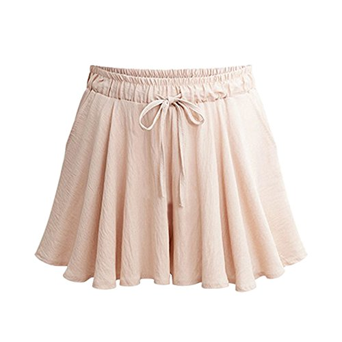 Womens Summer Elastic Waist A Line Wide Leg Culottes Shorts with Drawstring Light Apricot Tag M-US 2 ()