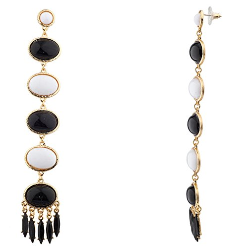 [Lux Accessories Black and White Statement Drop Earrings] (Black People Costumes Ideas)