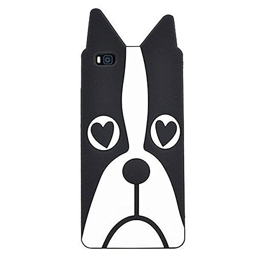 P8 Lite Case, Anya 3D Cute Lovely Cartoon Animal Series Style Soft Rubber Silicone Back Shell Case Cover for Huawei Ascend P8 Lite Love Dog Black