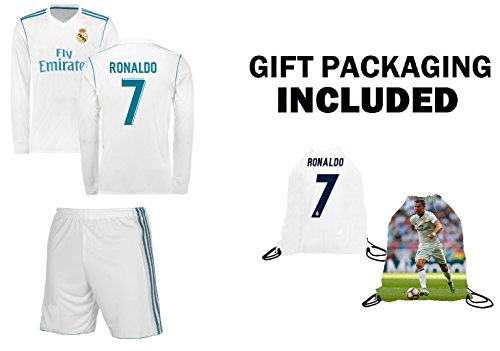 Real Madrid Home Ronaldo Kids #7 Soccer Kit Jersey and Shorts 4 IN 1 MULTIPLE GIFT KIT All Youth Sizes (Kids Medium 8-10 years of age)