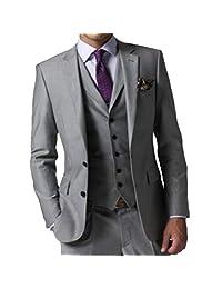 MYS Men's Custom Made Groomsman Tuxedo Suit Pants Vest Tie Set Grey Tailored