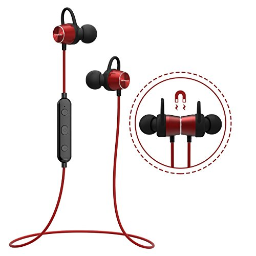 Bluetooth Headphones, [Upgraded] Mpow Judge Magnetic Bluetooth Earbuds, IPX7 Sweatproof Magnetic Stereo Bluetooth Earphones Wireless Sports Earbuds Headset Inline Control with MIC for Running, Jogging, Workout (3 Ear Hooks, 3 Ear-tips and Carrying Case Included) - Red