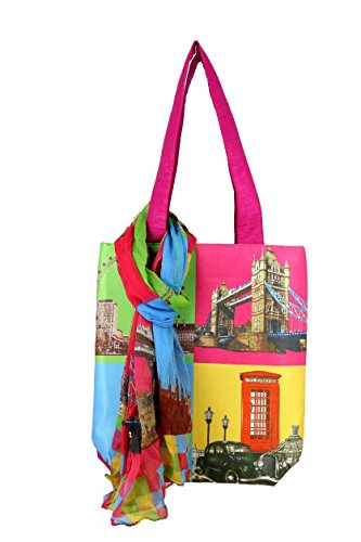 Digitally Printed Pop Art Dupion Tote Bag & Chiffon Scarf Set