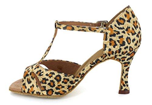Tda Kvinna T-rem Peep Toe Leopard Print Satin Salsa Tango Balsal Latin Modern Dans Bröllop Skor Brun