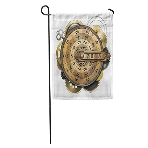 Semtomn Garden Flag Machine Steampunk Metal Collage of Time Counting Device New Year Home Yard House Decor Barnner Outdoor Stand 28x40 Inches Flag ()