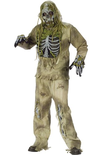 FunWorld Men's  Skeleton Zombie, Greenish Yellow, One Size Costume -