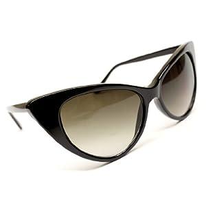 High Pointed Cat Eye Sunglasses Vintage Retro Celebrity Eyewear (Black, 55)