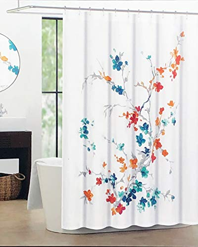 Tahari Fabric Shower Curtain Asian Floral Branches Watercolor Pattern in Shades of Red, Orange, Turquoise, Taupe on White - Printemps 2