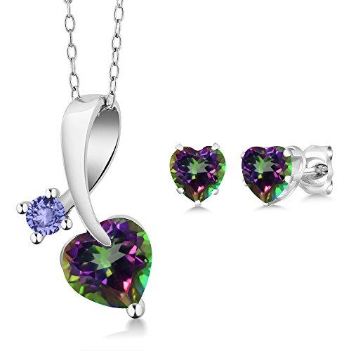 2.62 Ct Heart Shape Green Mystic Topaz 925 Sterling Silver Pendant Earrings ()