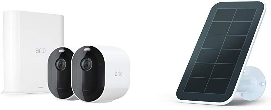 Arlo Pro 3 – Wire-Free Security 2 Camera System | 2K with HDR, Indoor/Outdoor, Color Night Vision, Spotlight, 160° View, 2-Way Audio, Siren | Works with Alexa | + Solar Panel