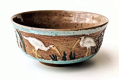 Hand Carved Ceramic Bowl with Florida Bird -