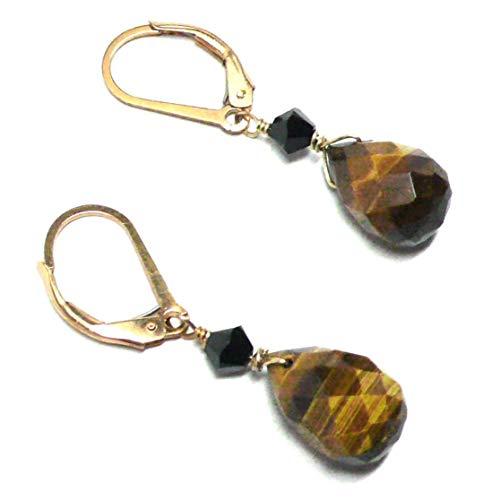 - Tiger Eye Briolette Gold-Filled Lever Back Earrings Swarovski Crystal Custom