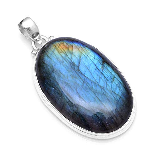 Silver Palace Sterling Silver Natural Labradorite Pendant for Women and Girls