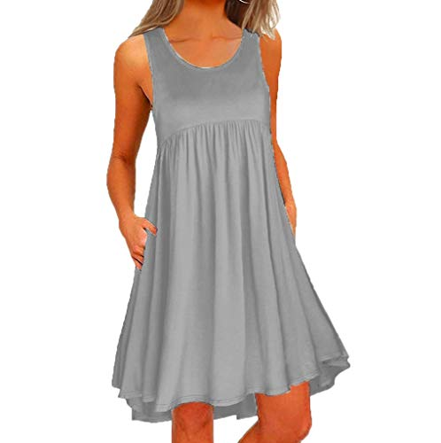 WEISUN Women O Neck Dress Casual Lace Sleeveless Above Knee Dress Summer Loose Party Mini Dress Sale Today Gray