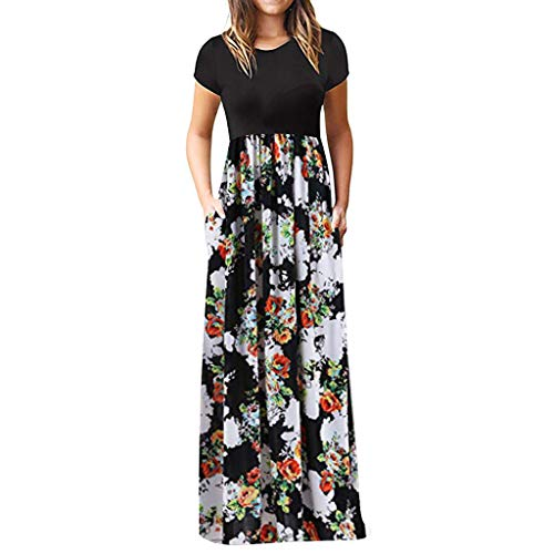 Chaofanjiancai Elegant Women's Maxi Dress Floral Printed Summer Short Sleeves Casual O-Neck Long Maxi Dress (S, White06) ()