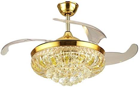 DWY-floor lamp Fan Lights New Fan Light Remote Control Gold Luxury LED Crystal Stealth Frequency Conversion Ceiling Fan Light (Color : Common Section, Size : 36 inchs)