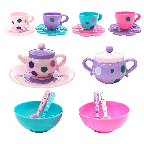 JIXUN Pretend Play Toy Plastic Tea Set of 17 Piece-Play Food Accessories