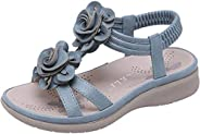 PPXID Little Big Girl's Flowers Sandals Princess Back Elastic Sandbeach S