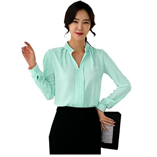 FANYANG Women's Long Sleeve Casual Shirt V Neck Chiffon Blouse Tops hot sale