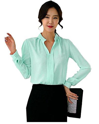 - FANYANG Women's Long Sleeve Casual Shirt V Neck Chiffon Blouse Tops