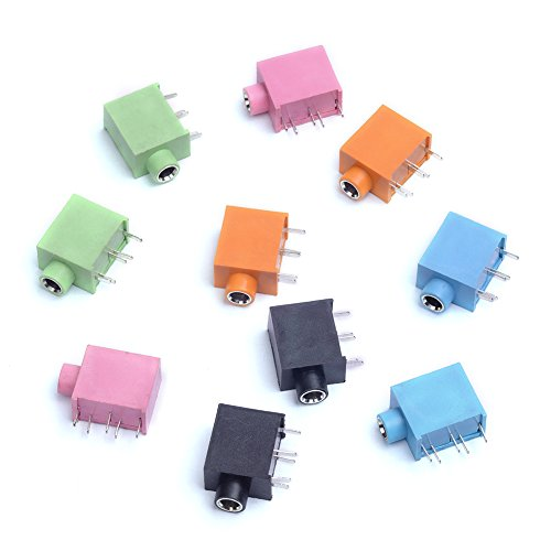 - Cylewet 10Pcs 3.5mm Stereo Female Audio Socket Headphone Jack PCB Panel Mount Connector 5 Pins for Arduino (Pack of 10) CYT1032