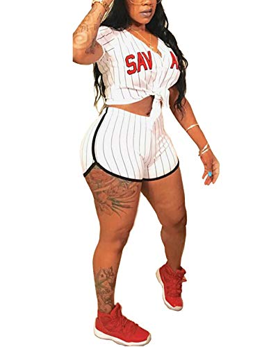 Women's 2 Piece Outfits - Letter Print Stripe Baseball Sweatsuits Short Sleeve Button Down Shirts Top + Shorts Set Tracksuit White X-Large ()
