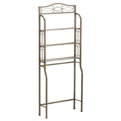 Traditional Brown Metal Spacesaver Shelves with Mirror Over the Toilet Storage Spacesaver 3-shelf Bathroom Organizer Bathroom Decor Rust Proof Finish, BONUS E-book by Best Care LLC