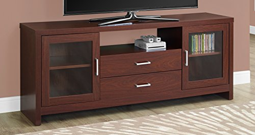Monarch Specialties Warm Cherry Drawers Glass Doors TV Stand - Monarch Tv Cabinet