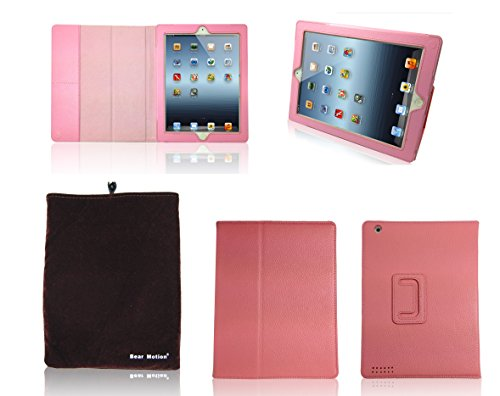 Bear Motion (TM) Genuine Leather Case for iPad 2 / iPad 3 (The New iPad) with 3-in-1 Built-in Stand - Support Smart Cover Function (Pink)