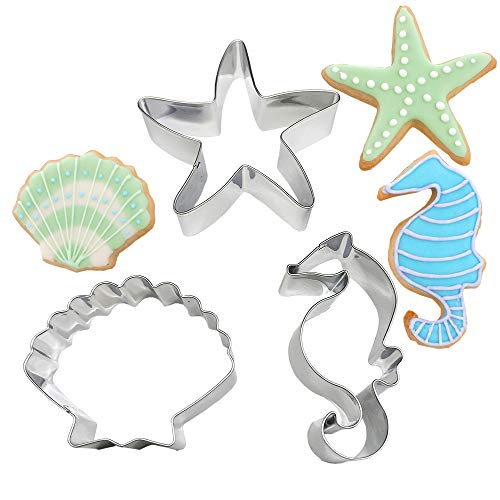 Juland 3 PCS Sea Creature Cookie Cutters Set Mould Seahorse, Starfish and Seashell Shape Stainless Steel for Kids Birthday Party Supplies Favors