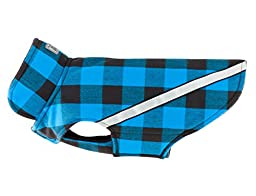 RC Pet Products West Coast Rainwear Raincoat, Fleece Lined, Water-Resistant, Reflective Dog Coat, Size 14, Blue Buffalo Plaid