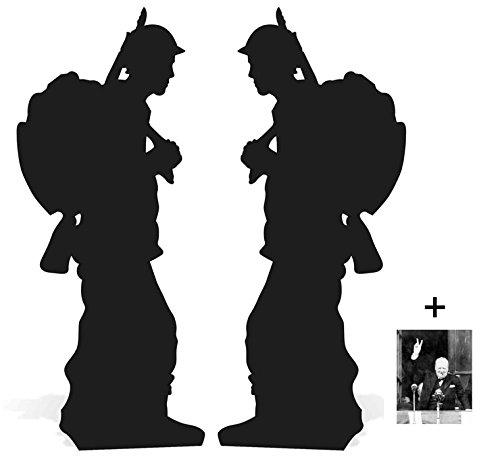 BundleZ-4-FanZ Fan Packs World War Soldier Silhouette Double Pack Lifesize Cardboard Cutout Fan Pack 175cm x 72cm, Includes 8x10 Star Photo