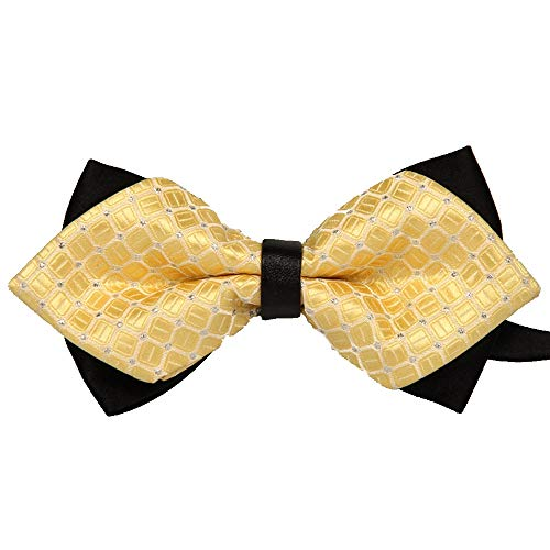 (Men Bowtie High End The British Polyester Pre Tied Wedding Tuxedo Bow Tie Necktie Accessory (Gold))