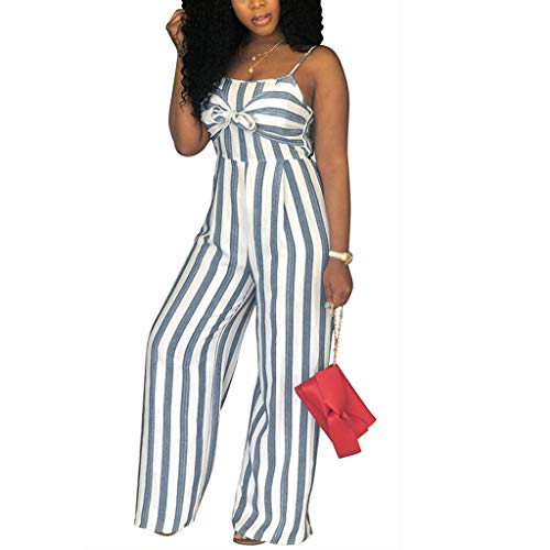 - Yucode Women Jumpsuit Rompers,Sexy Backless Camisole Striped Bow Elastic Waist Loog Wide Leg Casual Jumpsuit Gray
