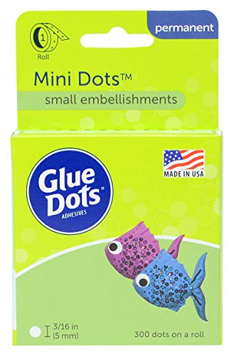 Glue Dots Mini Dot Roll, Contains 300 (.19 inch) Mini Adhesive Dots (32794-300) - Mini Plastic Dots