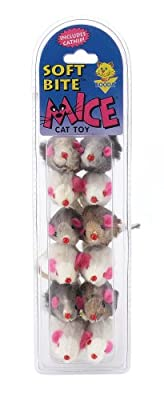 Aspen Pet 58070 Petmate Soft Bite Cat Toy, Small, Fur Mice, 12-Pack