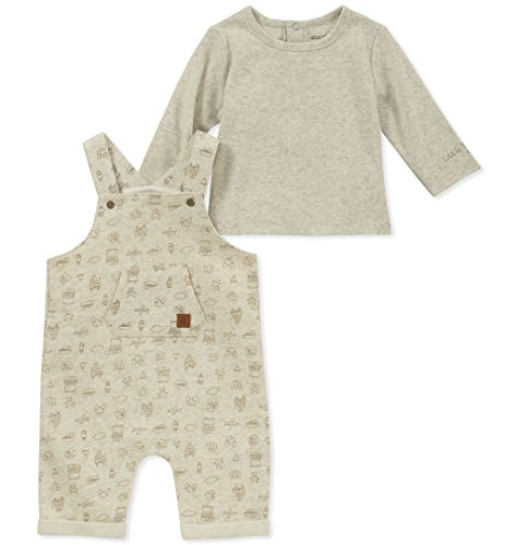 absorba Baby Boys 2 Pieces Overall, Oatmeal Heather, 3-6 Months ()