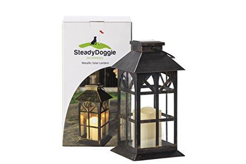 SteadyDoggie Solar Lantern Solid Metal and Glass Construction Estate Solar Mission Lantern Patio Garden Decor (Lantern Patio)